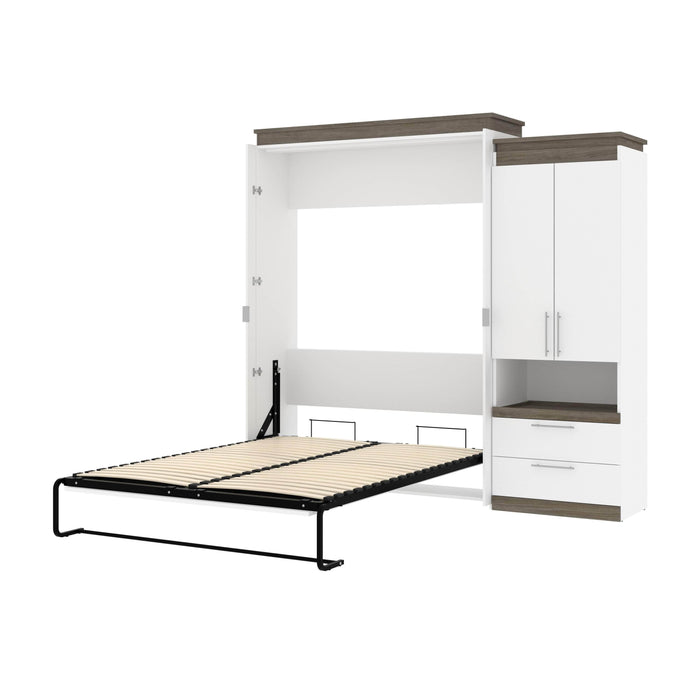 Pending - Bestar Murphy Beds White & Walnut Grey Orion Queen Murphy Bed And Storage Cabinet With Pull-Out Shelf - Available in 2 Colors