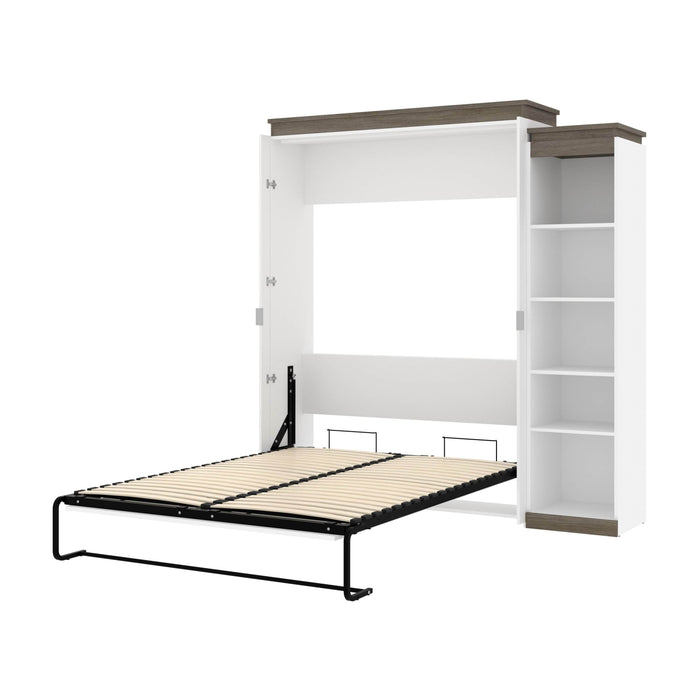 Pending - Bestar Murphy Beds White & Walnut Grey Orion Queen Murphy Bed With Narrow Shelving Unit - Available in 2 Colors