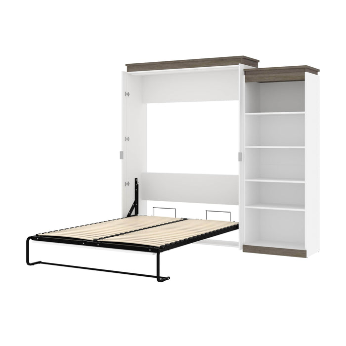 Pending - Bestar Murphy Beds White & Walnut Grey Orion Queen Murphy Bed With Shelving Unit - Available in 2 Colors