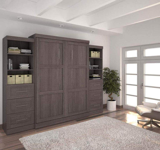 "Pending - Bestar Murphy Wall Bed Bark Grey Pur 115"" Queen Size Wall Bed with 2 Storage Units - Available in 3 Colours"