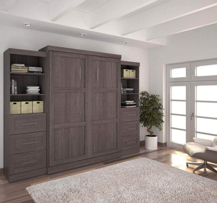 "Pending - Bestar Murphy Wall Bed Bark Grey Pur 115"" Queen Size Wall Bed with 2 Storage Units - Available in 3 Colors"