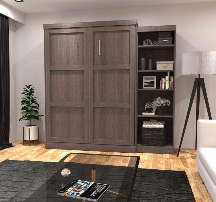 "Pending - Bestar Murphy Wall Bed Bark Grey Pur 90"" Queen Size Wall Bed with Storage Unit - Available in 3 Colours"