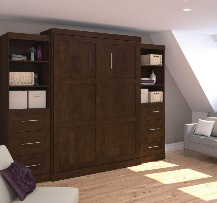 "Pending - Bestar Murphy Wall Bed Chocolate Pur 115"" Queen Size Wall Bed with 2 Storage Units - Available in 3 Colors"