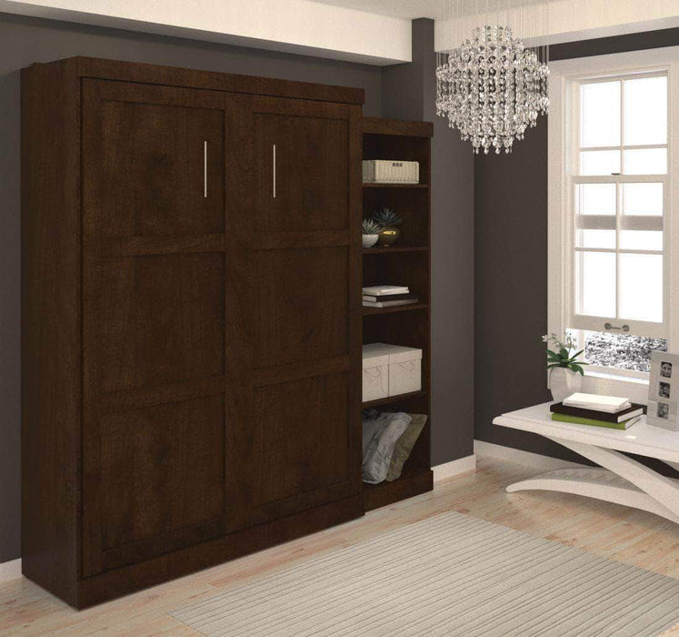 "Pending - Bestar Murphy Wall Bed Chocolate Pur 90"" Queen Size Wall Bed with Storage Unit - Available in 3 Colors"