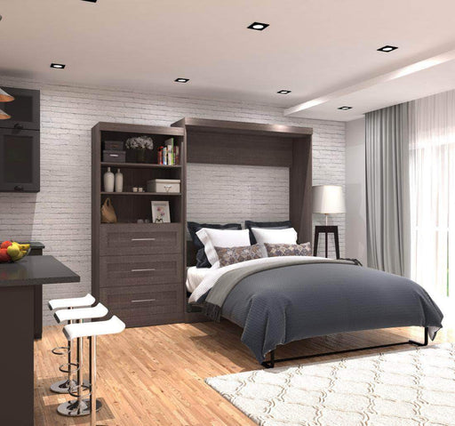 "Pending - Bestar Murphy Wall Bed Pur 101"" Queen Size Wall Bed with Storage Unit available in 3 Colours"
