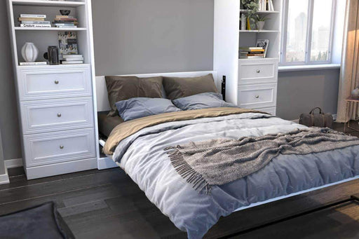 "Pending - Bestar Murphy Wall Bed Versatile 115"" Queen Size Wall Bed with 2 Storage Units - Available in 2 Colours"