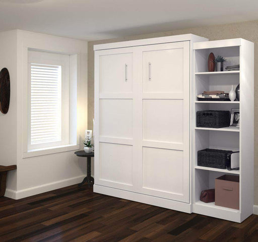 "Pending - Bestar Murphy Wall Bed White Pur 90"" Queen Size Wall Bed with Storage Unit - Available in 3 Colors"