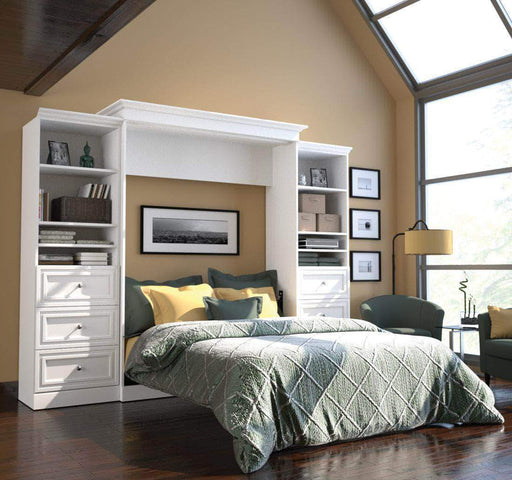 "Pending - Bestar Murphy Wall Bed White Versatile 115"" Queen Size Wall Bed with 2 Storage Units - Available in 2 Colours"