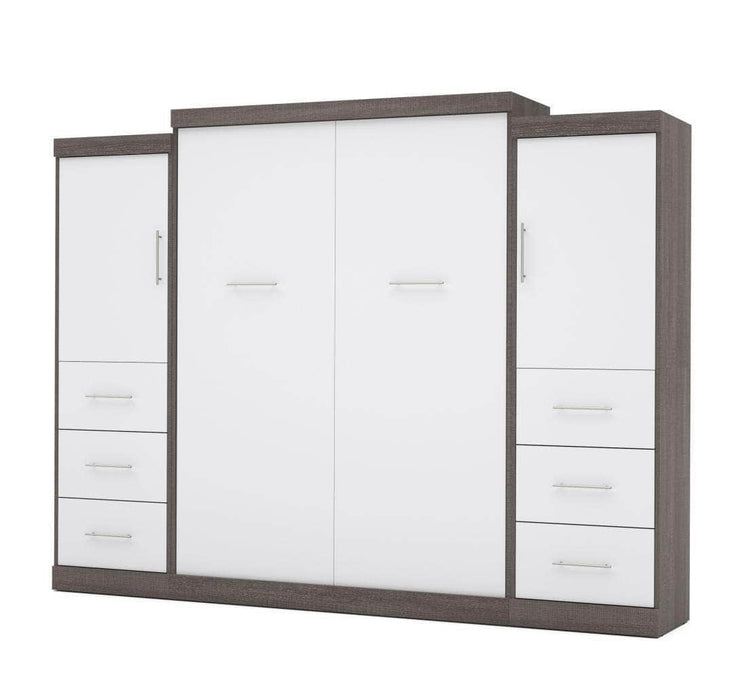 "Pending - Bestar Nebula 115"" Set including a Queen Wall Bed and Two Storage Units with Drawers - Bark Grey & White"
