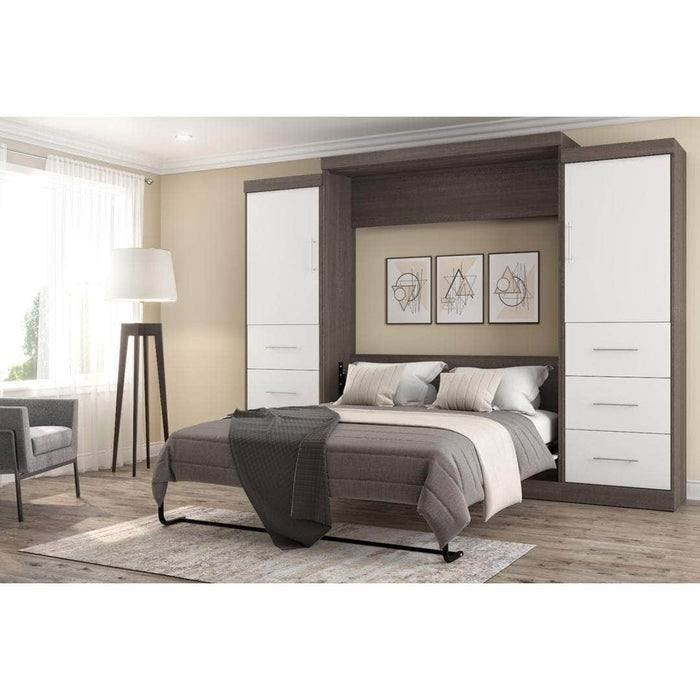 "Nebula 115"" Set including a Queen Wall Bed and Two Storage Units with Drawers - Bark Grey & White"