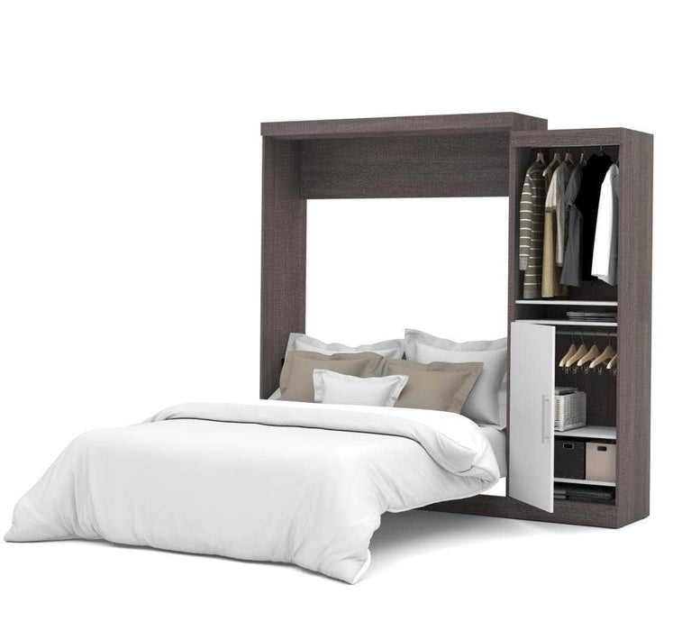 "Pending - Bestar Nebula 90"" Set including a Queen Wall Bed and One Storage Unit - Bark Grey & White"