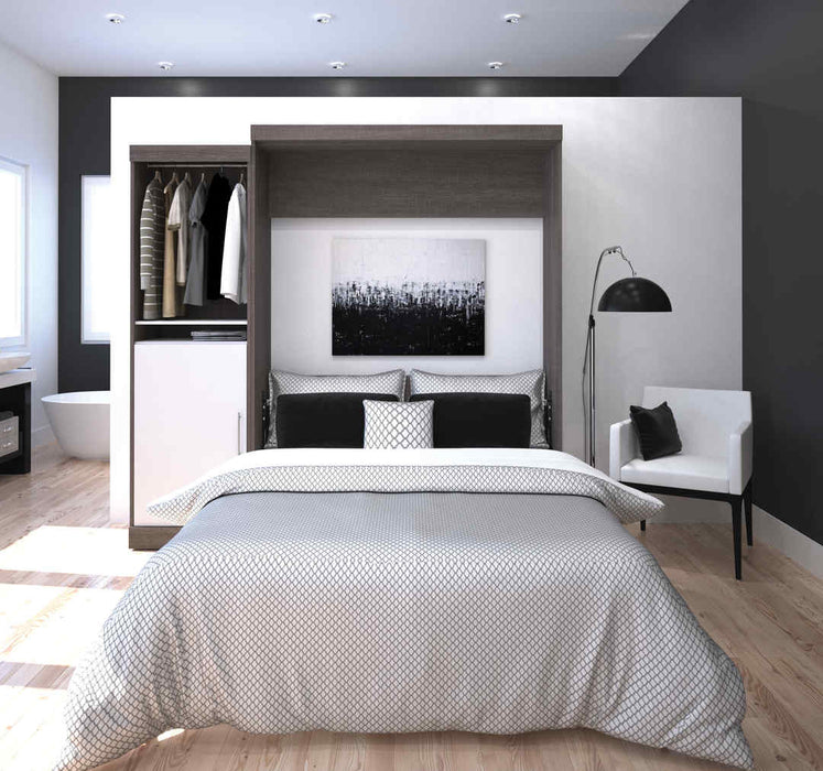 "Nebula 90"" Set including a Queen Wall Bed and One Storage Unit - Bark Grey & White"