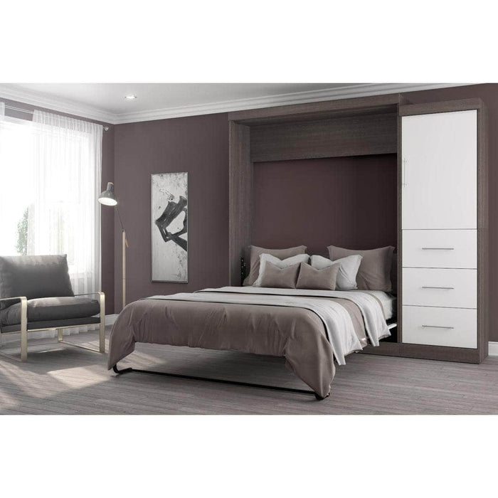 "Nebula 90"" Set including a Queen Wall Bed and One Storage Unit with Drawers - Bark Grey & White"