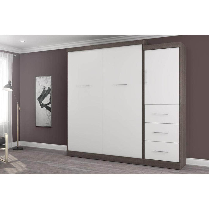 "Pending - Bestar Nebula 90"" Set including a Queen Wall Bed and One Storage Unit with Drawers - Bark Grey & White"