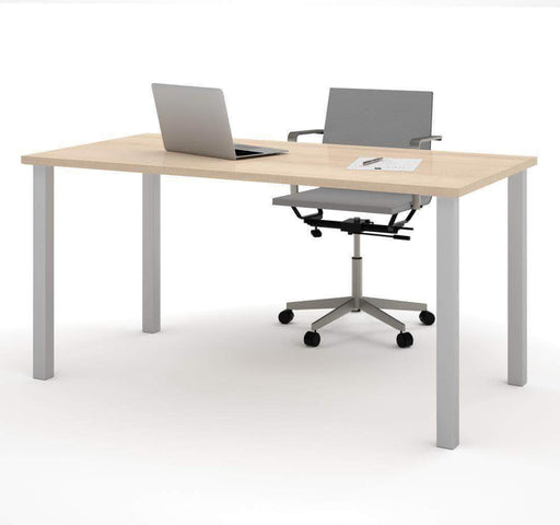 Pending - Bestar Northern Maple Table Desk with Square Metal Legs - Available in 9 Colours