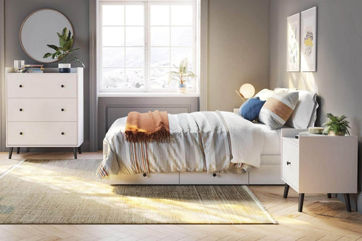 Modubox Platform Bed White Mira Full Platform Storage Bed - White