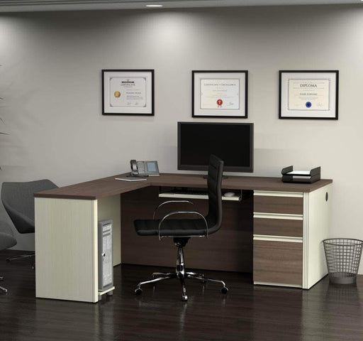 Pending - Bestar Prestige+ L-Shaped Desk with Pedestal - Available in 4 Colors