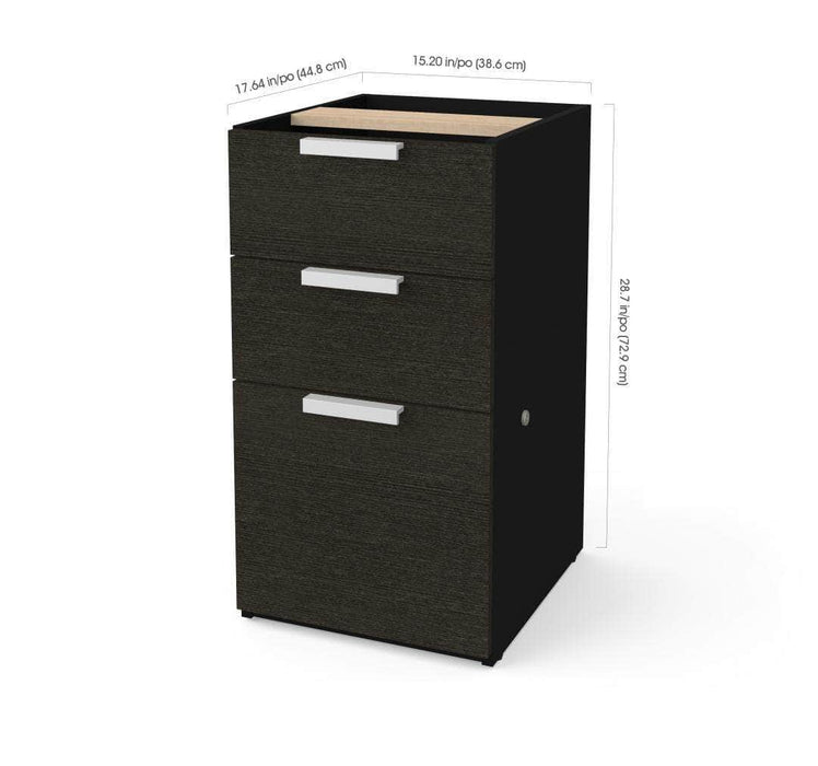 Pending - Bestar Pro-Concept Plus Add-on Pedestal with 3 Drawers - Deep Grey & Black