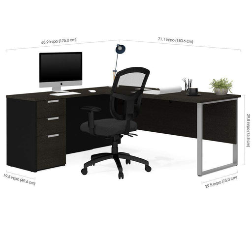 Pending - Bestar Pro-Concept Plus Open Side L-Shaped Desk with Pedestal - Available in 2 Colours