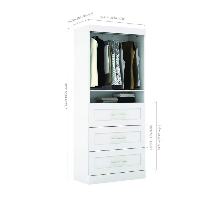 "Pending - Bestar Pur 36"" Storage Unit with 3 Drawers - Available in 3 Colours"