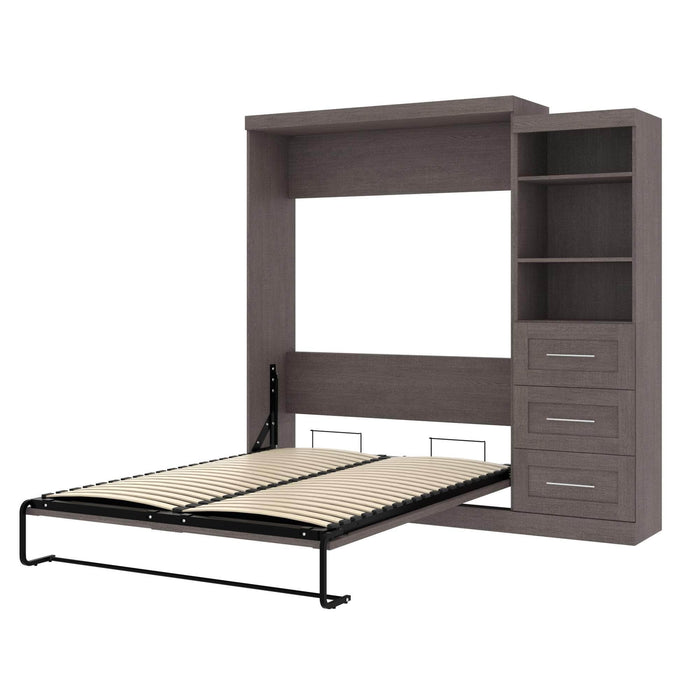 Pending - Bestar Queen Murphy Bed Bark Grey Pur Queen Murphy Bed and Storage Unit with Drawers (90W) - Available in 3 Colours