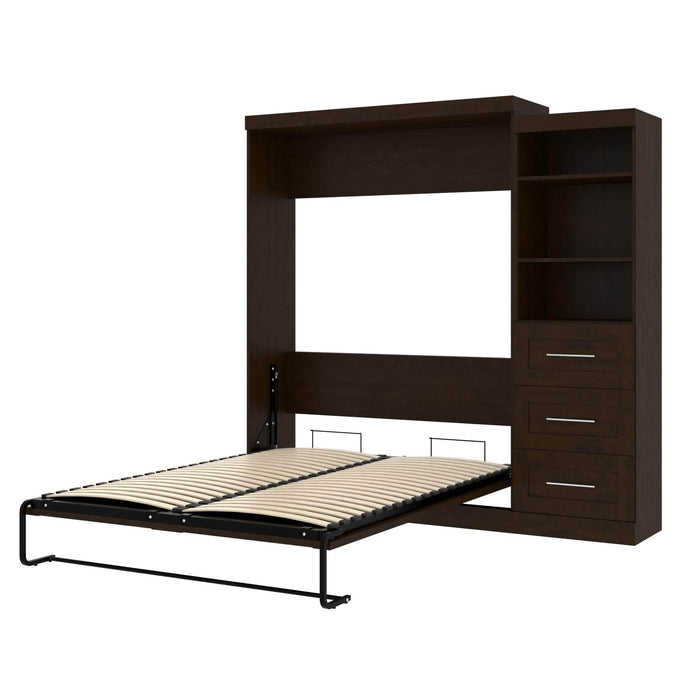 Pending - Bestar Queen Murphy Bed Chocolate Pur Queen Murphy Bed and Storage Unit with Drawers (90W) - Available in 3 Colours