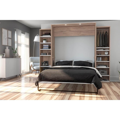 Pending - Bestar Queen Murphy Bed Cielo Queen Murphy Bed and 2 Storage Cabinets with Drawers (104W) - Available in 2 Colours