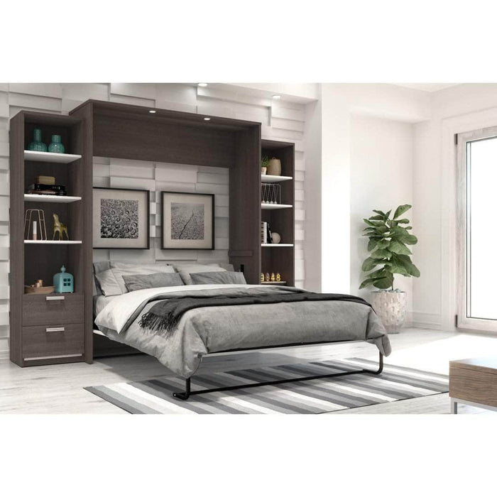Pending - Bestar Queen Murphy Bed Cielo Queen Murphy Bed and 2 Storage Cabinets with Drawers (104W) - Available in 2 Colors
