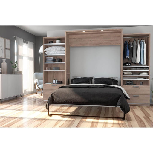Pending - Bestar Queen Murphy Bed Cielo Queen Murphy Bed and 2 Storage Cabinets with Drawers (124W) - Available in 2 Colours