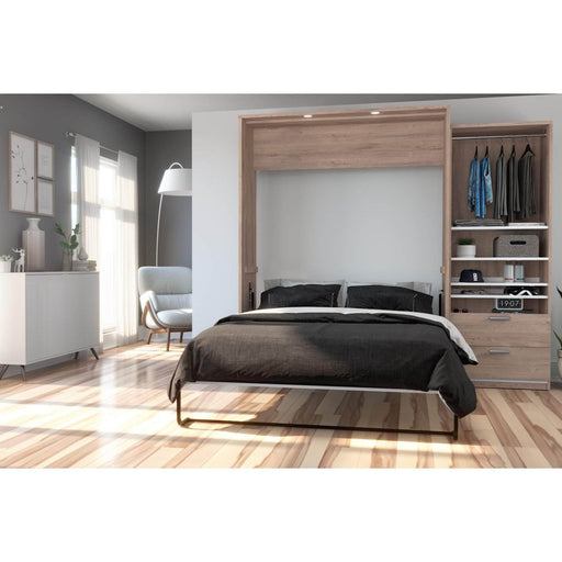 Pending - Bestar Queen Murphy Bed Cielo Queen Murphy Bed and Storage Cabinet (95W) - Available in 2 Colours