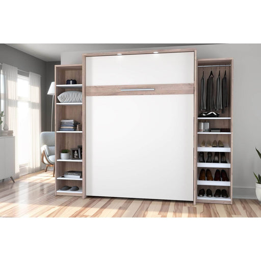 Pending - Bestar Queen Murphy Bed Cielo Queen Murphy Bed with 2 Storage Cabinets (104W) - Available in 2 Colours