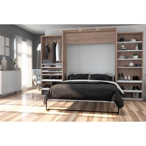 Pending - Bestar Queen Murphy Bed Cielo Queen Murphy Bed with 2 Storage Cabinets (124W) - Available in 2 Colours