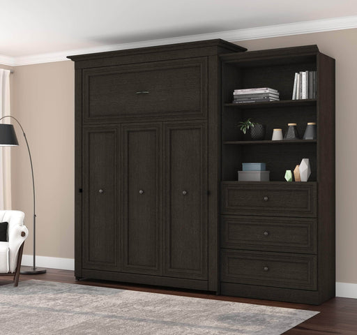 "Pending - Bestar Queen Murphy Bed Deep Grey Versatile Queen Murphy Bed and 1 Storage Unit (101"") - Deep Grey"