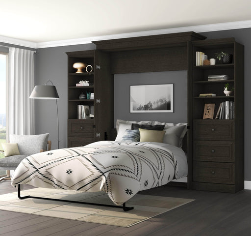 "Pending - Bestar Queen Murphy Bed Deep Grey Versatile Queen Murphy Bed and 2 Storage Units (119"") - Deep Grey"
