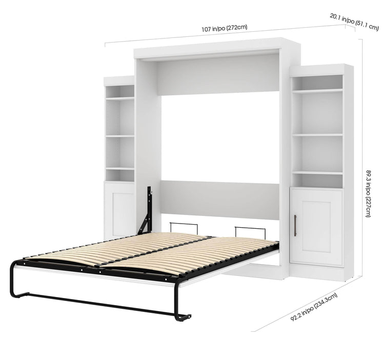 Pending - Bestar Queen Murphy Bed Edge Queen Murphy Bed with 2 Storage Units (107W) - Available in 2 Colours