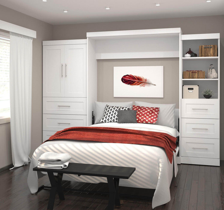 Pending - Bestar Queen Murphy Bed Pur Queen Murphy Bed and 2 Multifunctional Storage Units with Drawers (126W) - Available in 2 Colors