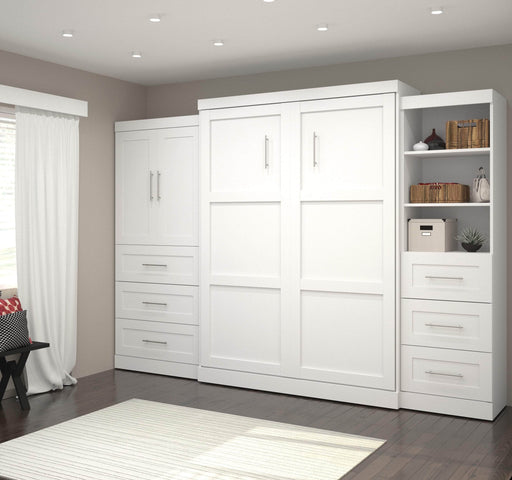Pending - Bestar Queen Murphy Bed Pur Queen Murphy Bed and 2 Multifunctional Storage Units with Drawers (126W) - Available in 2 Colours