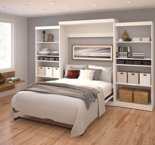 "Pending - Bestar Queen Murphy Bed Pur Queen Murphy Bed and 2 Storage Units (136"") - Available in 2 Colors"