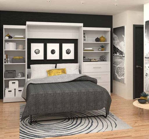 "Pending - Bestar Queen Murphy Bed Pur Queen Murphy Bed and 2 Storage Units with Drawers (126"") - Available in 2 Colours - 1"