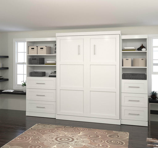 "Pending - Bestar Queen Murphy Bed Pur Queen Murphy Bed and 2 Storage Units with Drawers (126"") - Available in 2 Colours"
