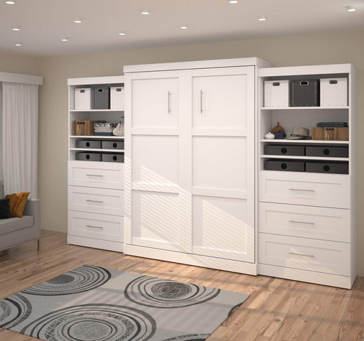 "Pending - Bestar Queen Murphy Bed Pur Queen Murphy Bed and 2 Storage Units with Drawers (136"") - Available in 2 Colours"