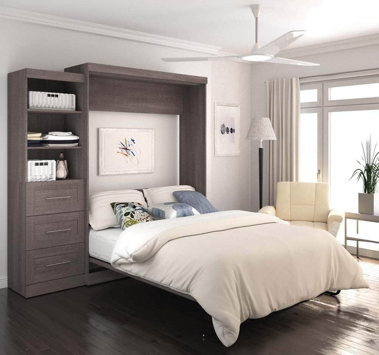 Pending - Bestar Queen Murphy Bed Pur Queen Murphy Bed and Storage Unit with Drawers (90W) - Available in 3 Colours