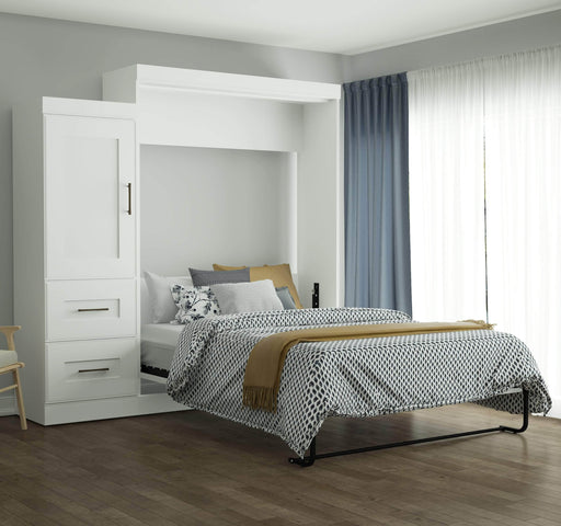 Pending - Bestar Queen Murphy Bed White Edge Queen Murphy Bed and Storage Unit with Drawers (90W) - White