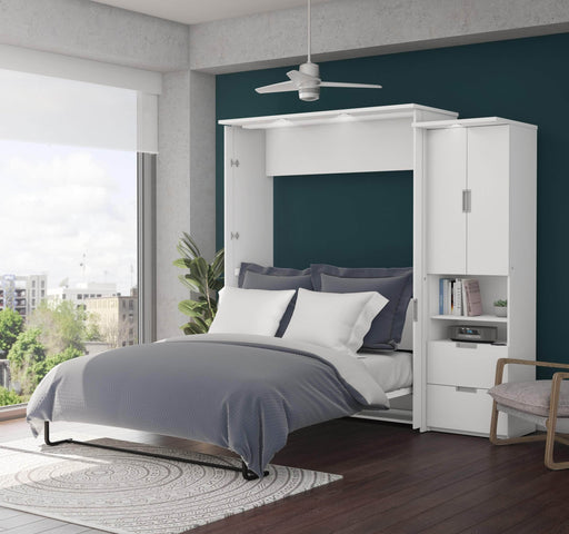 "Pending - Bestar Queen Murphy Bed White Lumina Queen Murphy Bed and 1 Storage Unit (89"") - White"