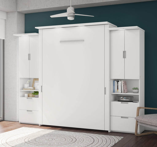 "Pending - Bestar Queen Murphy Bed White Lumina Queen Murphy Bed and 2 Storage Units (113"") - White"