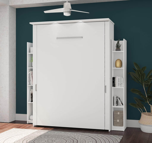 "Pending - Bestar Queen Murphy Bed White Lumina Queen Murphy Bed and 2 Storage Units (85"") - White"