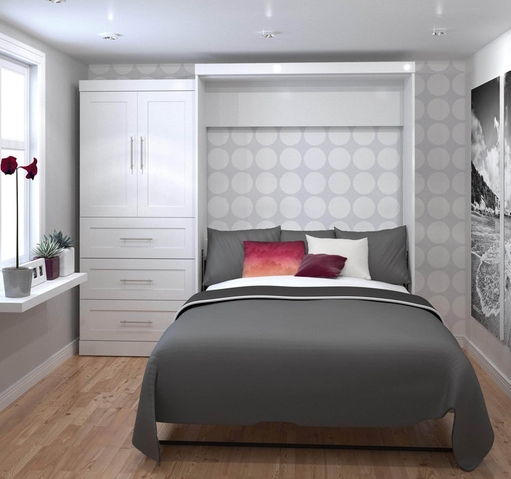 "Pending - Bestar Queen Murphy Bed White Pur Queen Murphy Bed and 1 Storage Unit with Drawers (101"") - White"