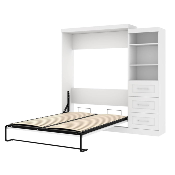 Pending - Bestar Queen Murphy Bed White Pur Queen Murphy Bed and Storage Unit with Drawers (90W) - Available in 3 Colors