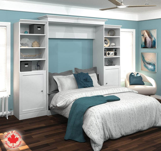 "Pending - Bestar Queen Murphy Bed White Versatile Lit Queen Escamotable (Grand Lit) and 2 Storage Units with Doors (115"") - White"