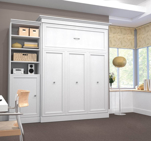 "Pending - Bestar Queen Murphy Bed White Versatile Queen Murphy Bed and 1 Storage Unit with Door (92"") - White"